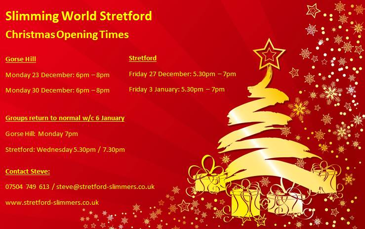 Christmas Opening Times Stretford And Gorse Hill Slimming World Manchester Swstretford
